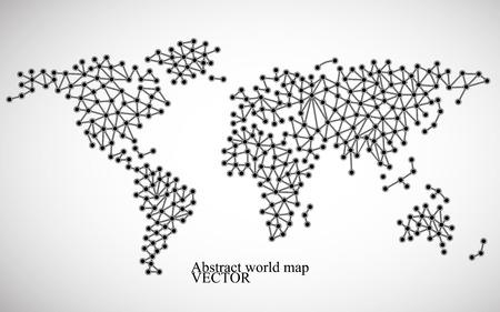 Abstrakte Weltkarte-Molekülstruktur. Illustration