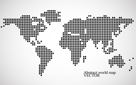 抽象的な世界地図。カラフルなピクセルの背景。  イラスト・ベクター素材