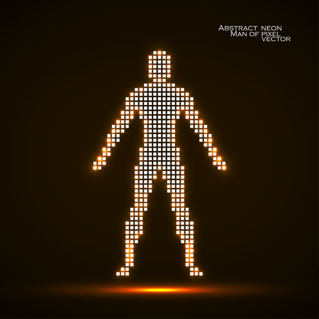 Neon man from pixels Abstract background.