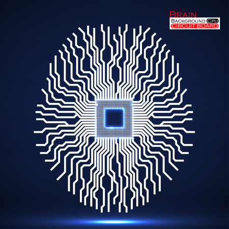 electronical: Neon brain. Cpu. Circuit board. Abstract technology background. Vector illustration. Eps 10