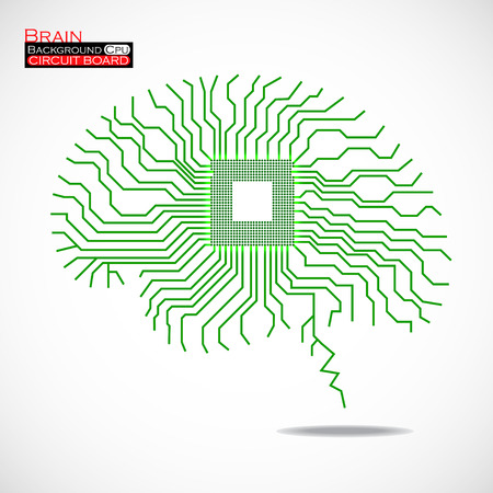 Brain. Cpu. Microprocessor. Circuit board. Abstract technology background. Vector illustration. Eps 10