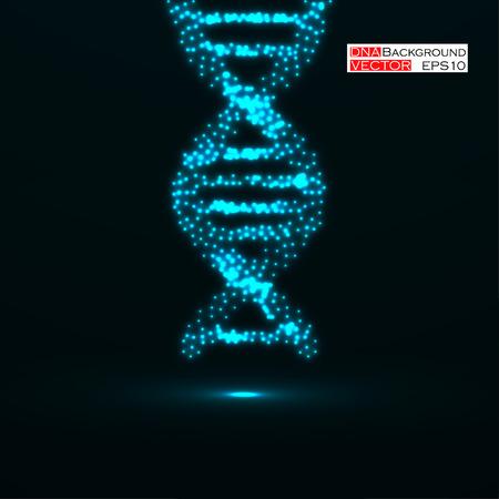ADN abstracto Estructura molecular de neón Ilustración vectorial Eps 10