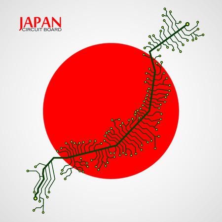 Kaart van Japan met een elektronische schakeling. Technologie achtergrond. Vector illustratie. eps 10
