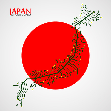 Map of Japan with electronic circuit. Technology background. Vector illustration. Eps 10 Illustration