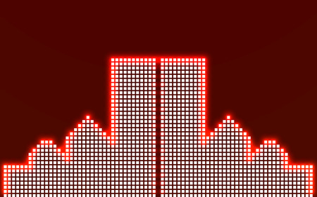 financial district: Abstract image of a large night city in neon. Vector illustration. Eps 10