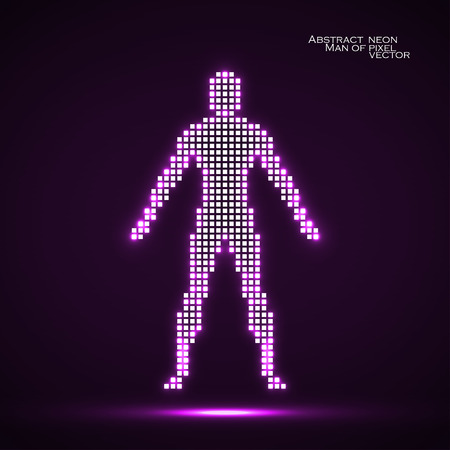 pix: Neon man from pixels. Abstract background. Vector illustration. Eps 10