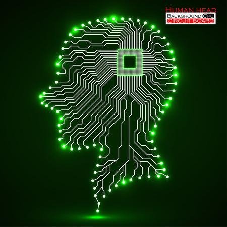 electronical: Neon human head. Cpu. Circuit board. Vector illustration. Eps 10