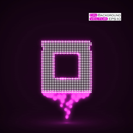 Neon Cpu. Microprocessor. Microchip. Isolated  technology background. Vector illustration. Eps 10