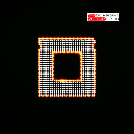 microprocessor: Neon Cpu. Microprocessor. Microchip. Isolated  technology background. Vector illustration.