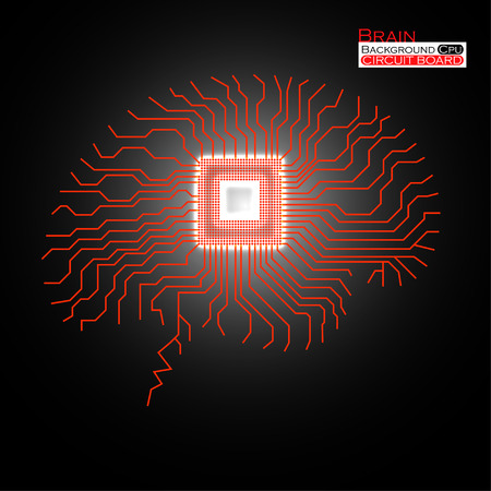 electronical: Brain. Cpu. Microprocessor. Circuit board. Abstract technology background. Vector illustration.