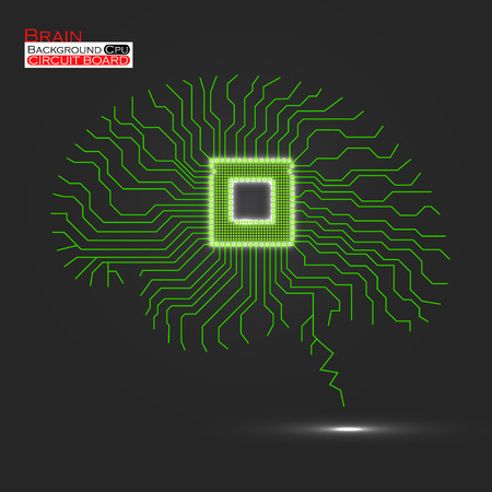 microprocessor: Brain. Cpu. Microprocessor. Circuit board. Abstract technology background. Vector illustration.