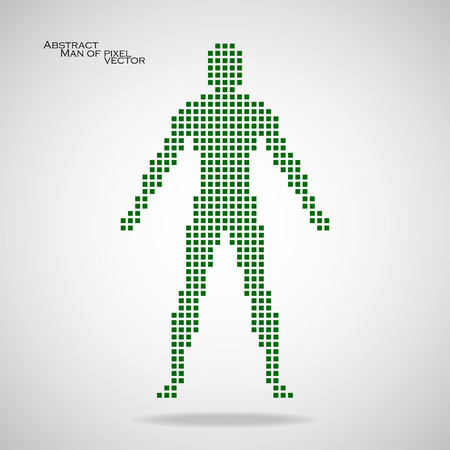 Man of pixel. Abstract background. Vector illustration.  Ilustração