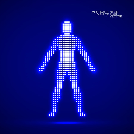 Neon man from pixels. Abstract background. Vector illustration.  Ilustração