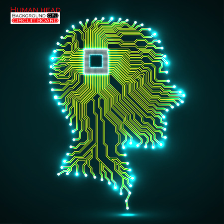 electronical: Neon human head. Cpu. Circuit board. Vector illustration.