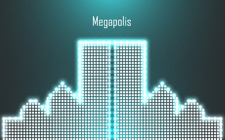 megalopolis: Abstract image of megalopolis in neon.