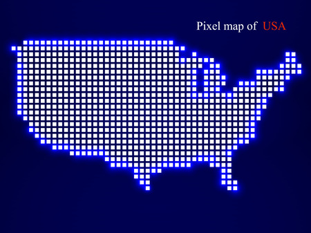 Pixel map of USA. Technology style with glow effect. Colorful background.   Illustration