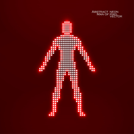 Neon man from pixels. Abstract background. Vector illustration. Eps 10