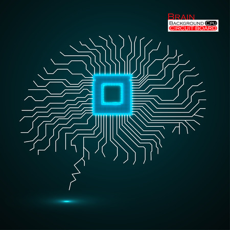 microprocessor: Brain. Cpu. Microprocessor. Circuit board. Abstract technology background. Vector illustration. Eps 10