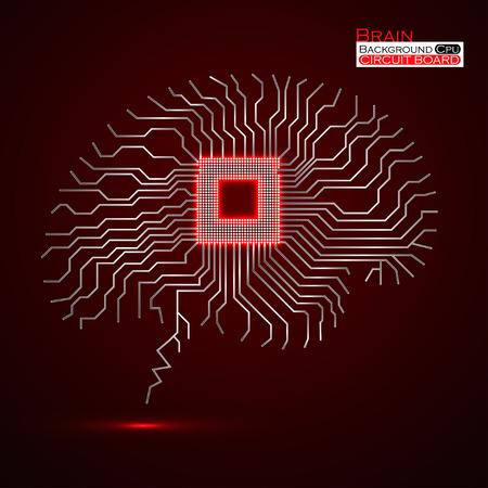 electronical: Brain. Cpu. Microprocessor. Circuit board. Abstract technology background. Vector illustration. Eps 10