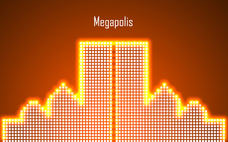 megalopolis: Abstract image of megalopolis in neon. Vector illustration. Eps 10 Illustration