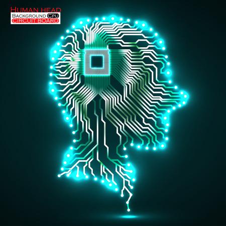Neon menschlichen Kopf. Cpu. Leiterplatte. Vektor-Illustration. Eps 10 Illustration