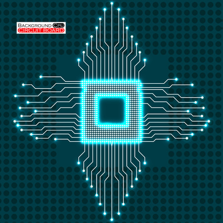 electronical: Neon cpu. Circuit board. Vector illustration. Eps 10