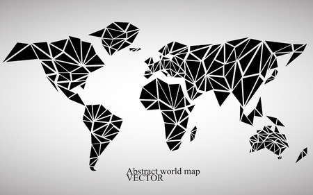 Abstract world map background in polygonal style. Colorful vector illustration.