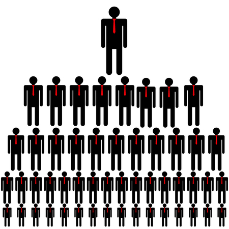 jerarquia: Jerarqu�a de la empresa, la estructura piramidal, red de negocios. Ilustraci�n del vector.