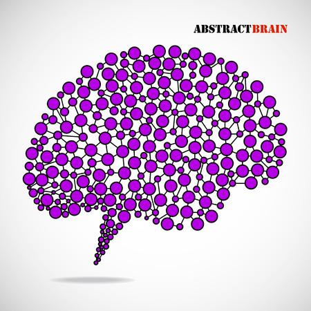 brain illustration: Abstract colorful brain human. Molecular structure. Vector illustration Illustration