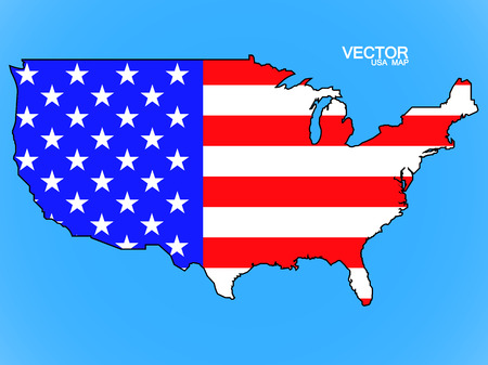 federal election: Map of United States of America with flag. Vector illustration. Eps 10