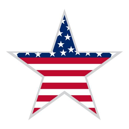 USA flag in star shape. Vector illustration. Eps 10