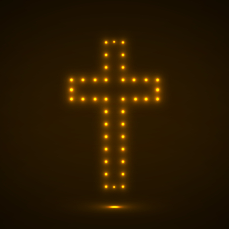 conceptual symbol: Glowing cross. Christian Symbol. Vector illustration. Eps 10 Illustration