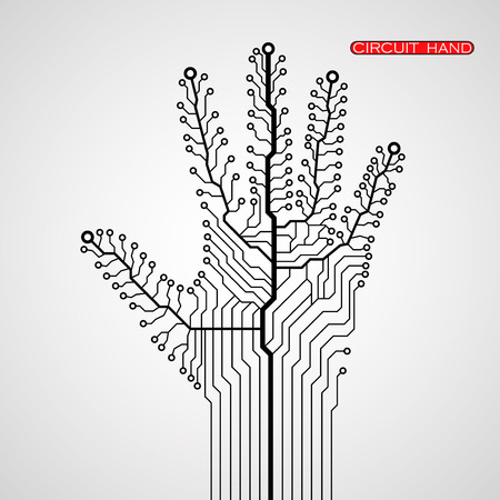 closeup: Circuit abstract hand. Vector illustration. Eps 10