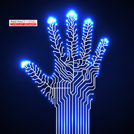 cybernetics: Circuit abstract hand.