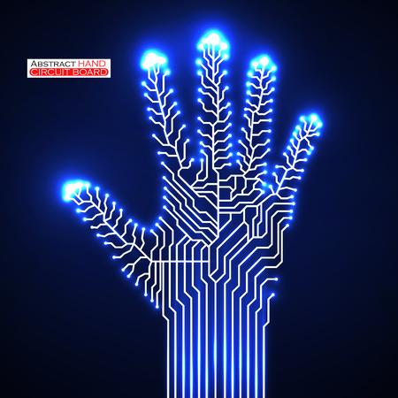 ligh: Circuit abstract hand.