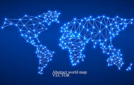 Abstract polygonal world map with glowing dots and lines, network connections. Vector illustration. Eps 10 Illustration
