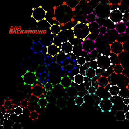 alternating organic: Colorful molecule DNA. Abstract background.