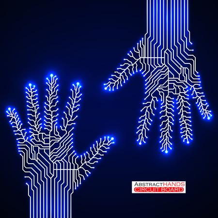 ligh: Circuit abstract hands.