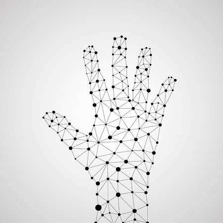 Abstract geometric hand with connecting dots and lines. Modern technology concept. Vector illustration. Eps 10  イラスト・ベクター素材