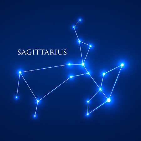 signes du zodiaque: Signe Constellation Sagittarius Zodiac. Vector Illustration. EPS 10 Illustration
