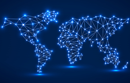 Abstract polygonal world map with glowing dots and lines, network connections. Vector illustration. Eps 10 Vettoriali