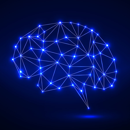 mentality: Abstract polygonal brain with glowing dots and lines, network connections. Vector illustration. Eps 10