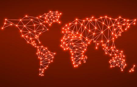Abstrakt polygonal Weltkarte mit leuchtenden Punkte und Linien, Netzwerkverbindungen. Vektor-Illustration. Eps 10