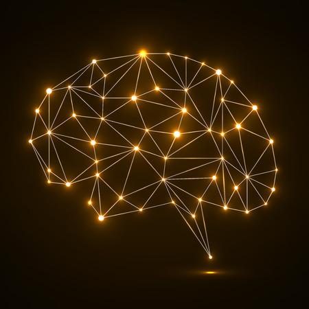 Cerebro poligonal abstracto con puntos y líneas que brillan intensamente, las conexiones de red. Ilustración del vector. Eps 10 Ilustración de vector