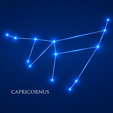 capricornus: Constellation Capricornus Zodiac Sign. Vector Illustration. Eps 10
