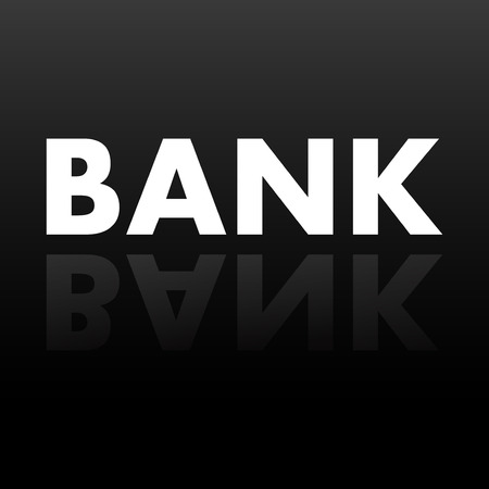 mirror reflection: The word BANK in mirror reflection. Vector illustration. Eps 10