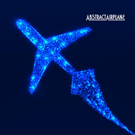 aeronautics: Glowing  airplane with neon. Vector illustration. Eps10 Illustration