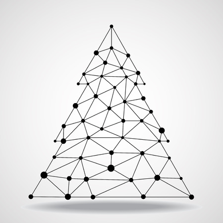 tree line: Abstract geometric triangle christmas tree, network connections.