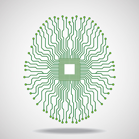 electronical: Brain Cpu Circuit board.  Illustration