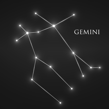 gemini zodiac: Constellation Gemini Zodiac Sign. Illustration